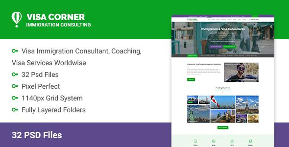Visa Corner   Immigration and Consulting Psd Template