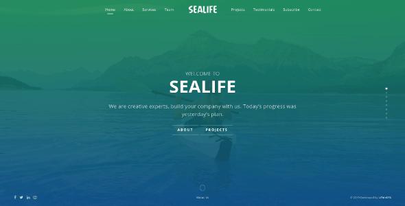 Sealife - Fullscreen Scrolling Portfolio Template